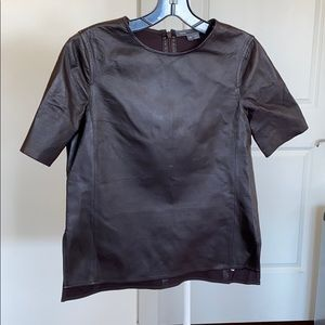 Vince Maroon Leather Shirt Size XS